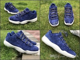 Wholesale cheap satin shoes - 2018 New 11 PRM Jeter Re2pect Blue Suede Men Basketball Shoes Top Quality Cheap 11s Mens Trainers Sports Sneakers Size 41-47