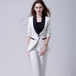c12135c7166 Черно-белые женщины из двух частей наборы женские деловые костюмы  формальные пр дамы брючный костюм женский офис униформа однобортный