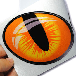 Wholesale Lighted Window Sticker - 2pcs Pair 3D Funny Cartoon Reflective Cat Eyes Car Stickers Truck Head Engine Rearview Mirror Window Cover Door Decal Sticker
