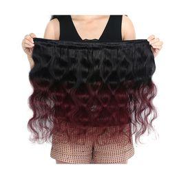 Wholesale Wine Hair Color - 12-26 Inch Length 1B 99J# Ombre Body Wave 3 Bundles Hair 100% Brazilian Virgin Human Hair Weaves Burgundy Wine Red Wefts 100g pcs