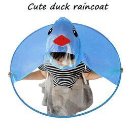 2019 mädchen plastikhut Regenmantel Plastik Netter Regen Mantel UFO Kinder Mädchen Junge Regenschirm Hut Magische Hände Frei Regenmantel transparent rabatt mädchen plastikhut