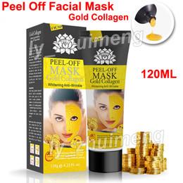 2019 máscara de seda hialurónica Peel Off Mascarilla Facial Colágeno Dorado Limpieza Profunda 120ml Máscara Cristalina Eliminador de Cabecera Mascarillas Faciales Cuidado de la piel envío gratis