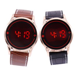 Wholesale Touch Watches Sale - free shipping hot sales fashion LED touch Couples lovers women men watch cool LED electronic alloy leather wristwatch