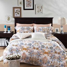 Wholesale Blue Floral Duvet Cover - Egyptian Cotton Bedding sets 4Pcs Queen King Size Printed Fabric Luxury Floral Duvet Cover+Flat Sheet+Pillow Cases