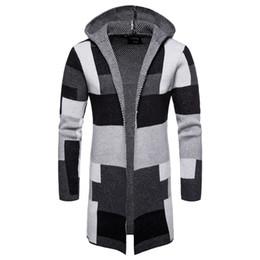бархатная мандарина с воротником Скидка Loldeal Mens Casual Open Front Long Color Block Sweater Cardigan Hooded Knit Coat