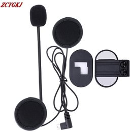 Wholesale Usb Microphone Clip - 2017 V2 Stereo Earphone Microphone & Clip Accessories Suit for V2 BT Interphone Bluetooth Intercom Mini USB Plug Free Shipping!