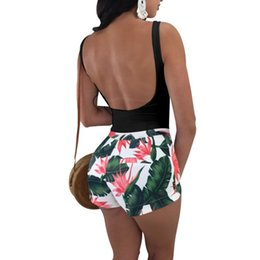 Mujeres Backless floral Jumpsuits Summer Bare Back Rompers Tanques Tops Shorts Una pieza de moda Sexy Girl Overol Body Siamés Pantalones L30 desde fabricantes