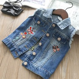 Wholesale lovely coats - Everweekend Kids Girls Animals Floral Embroidered Denim Jacket Coats Button Packets Lovely Baby Spring Autumn Fashion Outwears B11