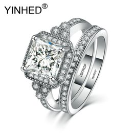 Wholesale 18krgp Gold - YINHED Fashion Original 18KRGP Stamp Gold Filled Ring Wedding Ring Set Engagement AAAAA CZ Crystal Jewelry For Women ZYR536