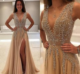 Wholesale See Through Feather Dresses - Luxury Beaded Side Split Prom Dresses Deep V Neck See Through Back Party Saudi Arabic Long Evening Dress Crystal Plus Size 2018