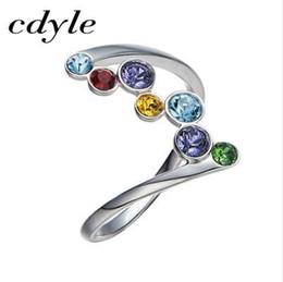 Cdyle Kristalle von Swarovski Luxus Ring Mode romantischen Jahrestag Mulit Farbe Engagement Frauen Schmuck elegante Regenbogen neu von Fabrikanten