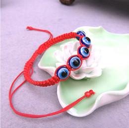 Wholesale blue evil eye charm - Wholesale- 2017 Hot Hand made red string evil eye bracelets Kabbalah Blue evil eye Good Lucky bracelet Unisex Man Women fashion jewelry