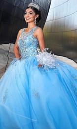 2019 courte quinceanera élégante Robes de Quinceanera longues perlées bleues robe de bal bijou sans manches à lacets Retour Sweet 16 ans princesse robes pour 15 ans personnaliser WY239
