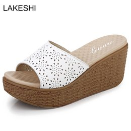Wholesale Hollow Out Wedge Sandal - LAKESHI Summer Women High Heel Platform Slippers Fashion Casual Hollow Out Shoes Ladies Wedges Beach Sandals Women Flip Flops