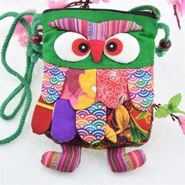 Bolsos de patchwork hechos a mano online-Fábrica de bolsos de las muchachas que vende directamente el paño del carácter Preescolar hecho a mano del bebé del buho Puntada colorida del bebé preescolar del búho de la mochila bolso de la manera