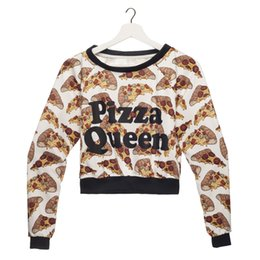 Canada Femmes Crop Sweat Pizza Queen 3D pleine impression fille taille libre extensible occasionnels courts Hoodies Lady manches longues Tops Sweats (GL36112) cheap pizza girl Offre