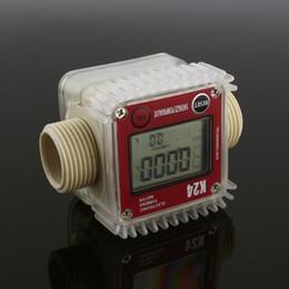 Rouge chimique en Ligne-Numérique LCD K24 Turbine Débitmètre De Carburant Diesel Pour Les Produits Chimiques Eau Mer Ajuster Les Débitmètres De Liquide Outils De Mesure Rouge Bleu