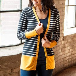 ae5b852060 Sweater women  s Long Sleeve Stripe Button Down Knit Ribbed Neckline  Cardigans winter clothes cardigan ladies
