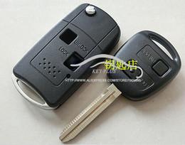 2019 cubierta para el telecontrol del coche Modificado Flip Key Shell 2 botones para FJ Land Cruiser Camry Previa Prado Ville Fob caso clave de control remoto clave coche cubierta para el telecontrol del coche baratos