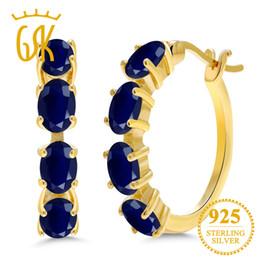 Pendientes de aro de zafiros online-GemStoneKing 4.40 Ct Pendientes de zafiro azul natural ovalado para mujer regalo 18K oro amarillo plateado aro de plata Pendientes