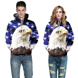 Wholesale Usa Eagles - Hip Hop Hoodie USA Flag Sweatshirt Men Women Hoodies Hooded 3d Print Stars Eagle Cap Hoodies With Front Pockets Tracksuits
