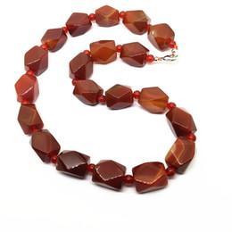 Wholesale Red Carnelian Beads - whole saleBEADZTALK Natural Stone Beads Red Carnelian Agates 13x18 mm Hand Made Necklace Women Jewelry Trendy necklaces no pendant