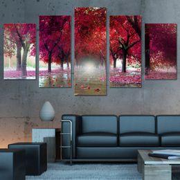 paisagem vermelha das árvores da lona Desconto Pinturas de Lona de Spray sem moldura Decor 5 Peças Árvores Vermelhas Paisagem Pictures Wall Art HD Cópias Deciduous Decoração Sala de estar