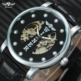 2019 кожаные ремни WINNER Fashion Casual Mechanical Men Watches Skeleton Luminous Hands Leather Watch Band Top  Hand-wind Wristwatches дешево кожаные ремни