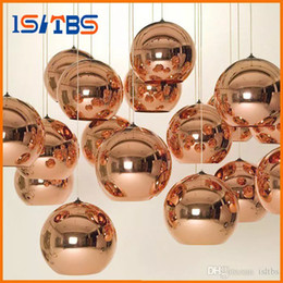 Wholesale pendant glass shade - Full set LED Pendant Lamp Copper Sliver Shade Mirror Chandelier Light E27 Bulb Modern Christmas Chandeliers Glass Ball droplight Lighting