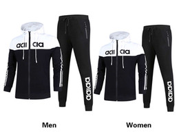 Wholesale Men Leisure Tracksuit - AD Brand Men and women hooded and pant Tracksuits 3 Colors Size L-4XL long sleeved men's sportswear fashion leisure suit Spring and autumn