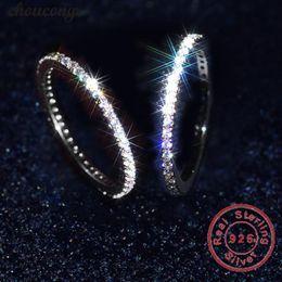 2019 sterling ring braut-set Choucong Echt 925 Sterling Silber Hochzeitsband Ring für Frauen Volle Pave Einstellung Diamong Verlobungsringe Braut Zubehör rabatt sterling ring braut-set