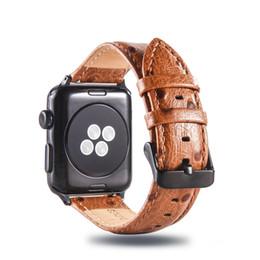 Fivela de maçã on-line-Estilo de negócios de luxo padrão de avestruz pulseira de couro genuíno clássico fivela pulseira cinto de relógio para 42mm 38mm Apple Watch 3 2 1 Goophone