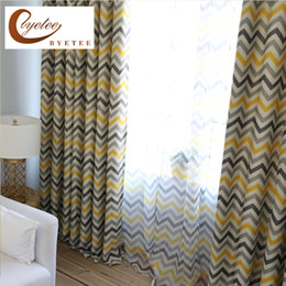 Wholesale wholesale blackout drapes - {byetee} Modern Strip Blackout Curtains and Sheer for Living Room Door Elegant Bedroom Shade New Arrival Kitchen Drapes Cortina