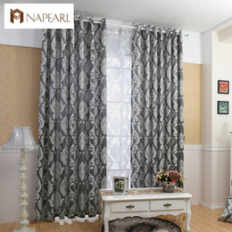 Тканевые панели онлайн-NAPEARL занавес окна гостиной жаккардовые ткани роскошные полу-плотные шторы панели гостиной Шторы короткие черный занавес