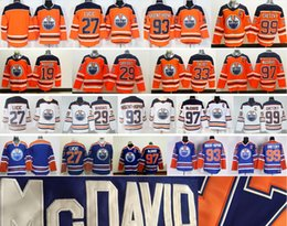 Wholesale Ryan Nugent Hopkins - 2018 New Edmonton Oilers Hockey 29 Leon Draisait Cam Talbot 99 Wayne Gretzky 93 Ryan Nugent-Hopkins 27 Milan Lucic 97 Connor McDavid Jersey