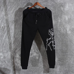Wholesale Hot Cotton Brand Capris - 2018 New Hot Sale Top Quality Spring and Autumn Tide Brand New Pants Bambi Cartoon Casual Sports Pants Shuttlecock Men's Pants Size S-2XL