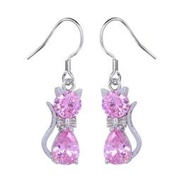 Wholesale jade pendant purple - SHUANGR Cat Shape Pendant Dangle Earrings White Red Purple Cubic Zirconia Charm Women's Earrings Cute Jewelry