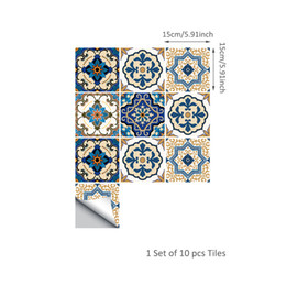 Wholesale Kitchen Tile Decals - Wholesale HOT! A set of ten 2018 Creative Art Vintage Decorative Bedroom Living Room Doors WC Kitchen Moroccan Style Tiles New Wall Stickers