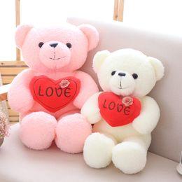 stuffed brown bear wholesale NZ - EMS Holding Heart Teddy Bear Plush Toy 19.5in. Love Stuffed Teddy Bear I LOVE YOU Teddy Soft Bear Pink White Brown Grey