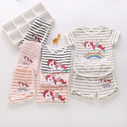 Wholesale shorts for toddler boys - Ins Rainbow Unicorn Baby Kids T-shirt + Shorts 2pcs set Outfit girls boys Clothes Summer striped tops tee Outwear Pajamas for Toddler sale