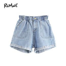 ba04f586342 ROMWE Shorts a vita media per donna Jean Shorts Donna Summer Blue Elastic  in vita orlo arrotolato Ladies Casual Denim i pantaloncini di denim  femminili sono ...