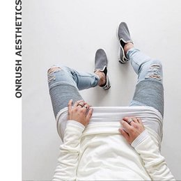 Wholesale Color Skinny Jeans For Men - OA Europe and America Youth Thin Slim Fit Men's Denim Jeans Skinny-cut Solid Color New Pencil Pants With Rips For Male