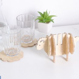 Wholesale Home Decor Coffee - Cute Sheep Shape Home Decor Coaster Office Supplies Fashion Wooden Coffee Cups Pad Creative Heat Insulation Cup Mat New Arrival 5 8fq Z