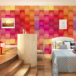 Wholesale Paper Grinding - mosaic modern 3d square wallpaper photo wallpaper roll red color for back ground wallpaper