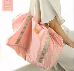 Wholesale Tarpaulin Bags - Free-shipping Summer Fashion Pink 19L Colour Blocking Extensible Space Waterproof Tarpaulin Duffel Bag with Secret Compartment