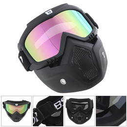 Wholesale Motorcycle Helmet Open Face Visor - Detachable Motorcycle Goggles Glasses Mask Visor Ski Snowboard support Open Face Motorcycle Half Helmet for Motorcycle MBA_702
