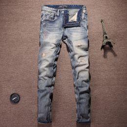 High Street Fashion Men Jeans Light Blue Color Vintage Design Cotton Pants  Embroidery Patch Ripped Jeans For Men Hip Hop 123856575