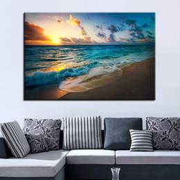 peintures mer Promotion Toile HD Impressions Photos Home Decor 1 Pièce / Pcs Sunset Beach Seascape Peintures Salon Mur Art Sea Waves Cadre Cadre