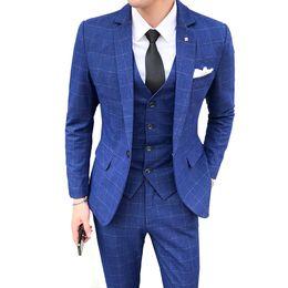 Корейские мужские костюмы онлайн-Men Autumn And Winter New Suits Korean Style plaid Business Casual Male Clothing Single-breasted Wedding 3 Piece Suit S-5XL