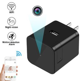 Wholesale Pinhole Camera Spy - HD WIFI 1080P Infiared Spy Camera Socket Mini USB Adapter Cam hidden Camera Wall Charger Wireless IP Camera Motion Detection Alarm